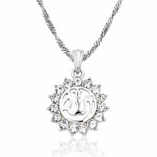 Gold Silver Plated Muslim God Allah Islam Pendant Necklace Chain Crystal Jewelry