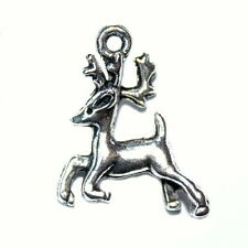 ANTIQUED PEWTER SILVER JEWELRY REINDEER CHARM 23X18MM 4 CHARMS PC58