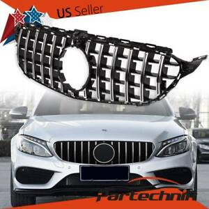 GTR Style Grille FOR Mercedes Benz W205 C-CLASS 2015-2018 Chrome Black W/ Camera