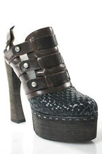 Proenza Schouler Brown Black Woven Leather Platform Slingback Pumps Size 39 9