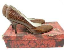 Size 8 Vintage 1950's Palizzio Brown Lizard Alligator Skin Pumps Heels Shoes Euc