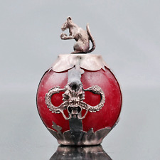 Collectable Red Jade Armor Tibetan Silver Hand-carve Zodiac statue -- Mouse