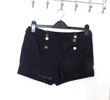 NEW LOOK Size 12 NAVY FLECK DOUBLE BUTTONED FRONT SHORTS with TURN-UPS