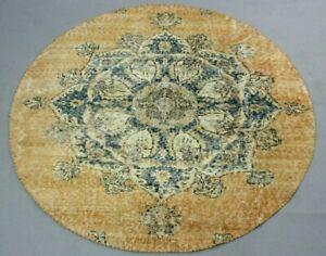 Turkish Oushak Round Rug Vintage Anatolian Handmade Bohemian Wool Carpet 5x5 ft