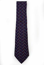 Hermes Paris Navy & Red Floral Silk Tie