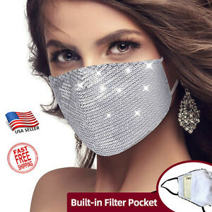 Fashion Face mask w FILTER Pocket Sequin Sparkle Glitter Bling Mask Party Sexy