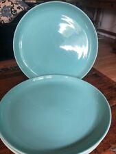 3 Mid Century La Mirada California True Porcelain Dinner Plates Aqua