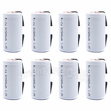 8 pcs SubC Sub C 2800mAh 1.2V NiCd Rechargeable Battery Cell with Tab White