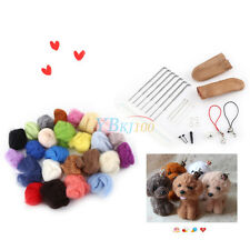 25 Colors Wool Felt + Felting Needle Tool Set Starter Kit Mat Tools High Quality