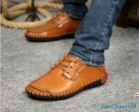 Men's Lace up Driving Casual Moccasins Sneaker Leather Boat Loafer Slip on Shoes