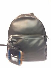 Fendi Black Leather Backpack with Real Fur Mini Pouch BRAND NEW