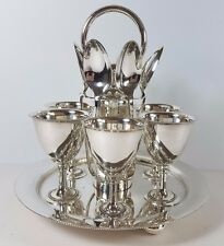 ANTIQUE SILVER PLATED SIX EGG CUP CRUET STAND & SPOONS