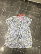 MONSOON SIZE 8 BLUE FLORAL PRINT SUMMER TOP WITH PLEAT DESIGN WITH CAMI UNDER
