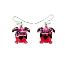 Boucles d'oreilles Emaillées la petite tortue turtle Schildkröte BFPEM009-rouge