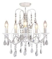 Luxury White & Crystal 5 Light Ceiling Chandelier Light Lounge BHS Sapparia