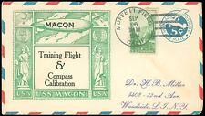 8/7/34 USS MACON FIFTEENTH DEPARTURE from MOFFETT FIELD Cachet, Oak/Alameda CoC!