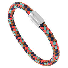 Multicolor Leather Braided Bracelet w/ Stainless Steel Magnetic Clasp