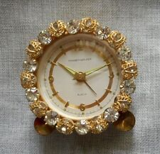 1950's Phinney Walker Semca Rhinestone Jeweled Boudoir Alarm Clock Germany