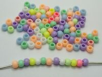 500 Mixed Pastel Color Acrylic Round Pony Beads 6X4mm for Kids Craft Kandi