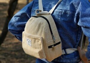 Women handmade hemp mini backpack Eco friendly small backpack Light weight bag