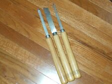 3 VINTAGE GREAT NECK Wooden TOOLS PROFESSIONAL WOOD LATHE TURNING CHISELS tools