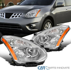 For 08-13 Nissan Rogue Crystal Clear Headlights Lamps Turn Signal Left+Right