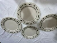 """4 Longaberger Pottery Woven Traditions Holly Christmas 10 1/4"""" Dinner Plates USA"""