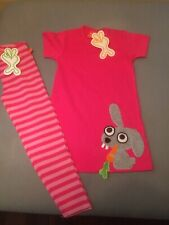 Lipfish Pink Short Sleeve Jersy Dress With Rabbit & Matching Leggins Age 3-4 BN