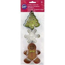 Wilton Christmas Shapes Gingerbread Boy Snowflake Tree Metal Cookie Cutter 3 Pc