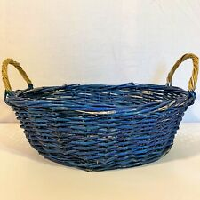 Blue OVAL WICKER Woven Cane BASKET 10-1/2 x 8-1/2 Side Handle Gift Fruit Holiday