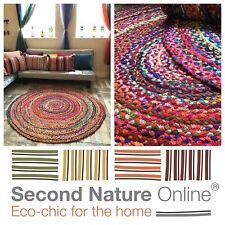 Second Nature Online Sundar Round Rag Rug Multicolour Braided Fair Trade 4 Sizes