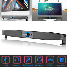 Bass Surround TV Soundbar USB Powered Speaker Stereo Subwoofer With Mic AUX X8I7