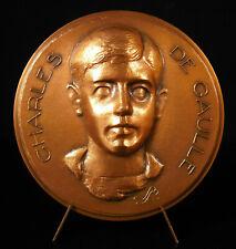 Médaille Charles De Gaulle enfant et sa maison natale Lucien LAFAYE 84 mm 300 g
