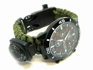 NEW PARACORD SURVIVAL WRIST WATCH COMPASS TEMPERATURE FIRE STARTER WHISTLE 550