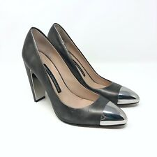 French Connection Jolynn Metal Toe Pumps Shoes Heels Pewter Silver Leather 37.5
