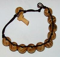 "NEW TAU St Francis of Assisi Rosary Bracelet Olive Wood Finish 8"" Adjusts To Fit"