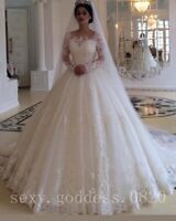 Vintage Princess Lace Applique Wedding Dresses Long Sleeves Ballgown Bridal Gown