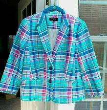 TALBOTS PETITES AQUA BLUE & PINK PLAID LINEN & COTTON BLAZER JACKET ~ 14P