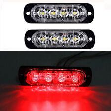2Pcs Red 4 LEDs Ultrathin Truck Emergency Beacon Light Bar Hazard Police Strobe