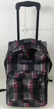 JanSport Plaid Superbreak Rolling Backpack Wheels Luggage Carry On Pink Gray