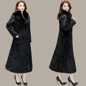 100%Real Rabbit Fur Long -Line Coat Female Coats Windbreaker with Fox Fur Collar