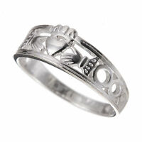 925 Sterling Silver Celtic Claddagh Ring S126 (Sizes J - R)
