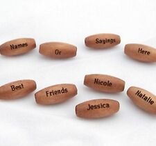 100 - PERSONALIZED Medium Brown Wood 5/8 Inch Beads - Custom Engraved