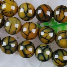 10mm Dragon Veins Agate Round Gemstone Loose Beads 15""