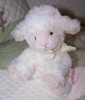 """Russ Lamby Lamb Sheep WOOLO Fluffy Plush White Stuffed Toy 9"""" EUC"""
