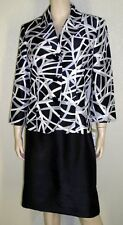 Le Suit NWT Size 14 Black Multi Color Jacket Blazer Skirt Suit $200 7046