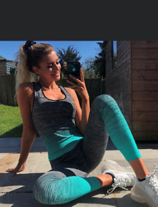 LADIES GIRLS YOGA FITNESS SPORTS WEAR TOP VEST TOP LEGGINGS SET GYM WORKOUT