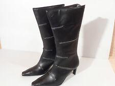 Moda Di Fausto Ladies Black Leather Boot with Heel & Zip EU 34.5 UK 2.25 Italian