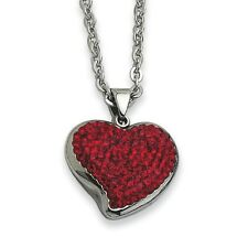 Chisel Stainless Steel Red Crystal Heart Pendant Necklace 22""