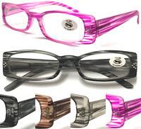 L195 Stripe Pattern Fancy Reading Glasses/Spring Hinges & Diamond Matte Designed
